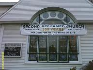 Anniversary Banner on front of church